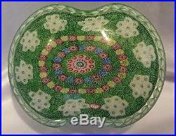 Saint Louis Art Glass Paperweight Basket Of Flowers White & Green 1981 Boxed