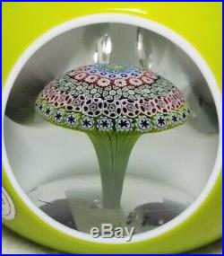 Saint Louis Paperweight Faceted Green Overlay Millefiori Mushroom WithLabel
