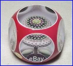 Saint Louis Paperweight Faceted Red Overlay Millefiori Mushroom WithLabel