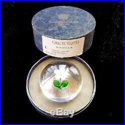 Saint Louis Violettes 1991 signed glass paperweight + box / presse papiers