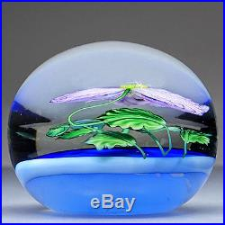 Salazar Lundberg Lampwork Lavender Poppy Studio Art Glass Magnum Paperweight