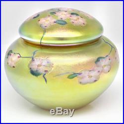 Salazar Lundberg Studio Art Nouveau Iridescent Millefiori Glass Paperweight Jar