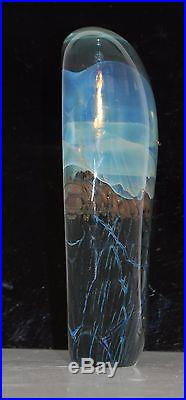 Satava Art Glass Jellyfish Jelly Fish Paperweight Signed 6.5 tall