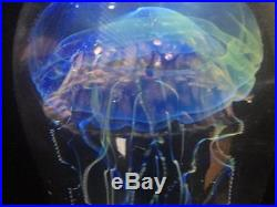 Satava Art Glass Moon Jellyfish Large Paperweight Sculpture 7 Hand Blown Signed