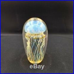 Satava Art Glass Moon Jellyfish Paper Weight 4 1/2
