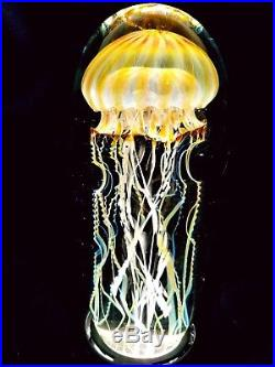 Satava Art Glass Passion Moon Jellyfish glass sculpture