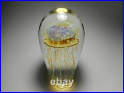 Satava Gold Amber Moon Jellyfish 6 1/4-Inch-Tall Art Glass Paperweight