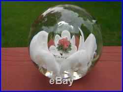 Scarce Joe Zimmerman Glass FIrst Rose 1966 Paperweight Rose Bouquet in Bubble