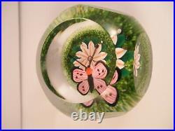 Scottish Borders Art Glass Butterfly Flower Lampwork Millefiori Paperweight PH