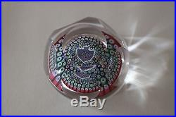 Signed 1976 WHITEFRIARS FISH FACETED ART GLASS PAPERWEIGHT MILLEFIORI FLOWERS