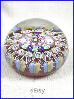 Signed 1990 Perthshire Glass Paperweight Close Packed Millefiori