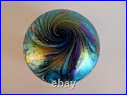 Signed 1999 Daniel LOTTON Art Studio Glass Paperweight IRIDESCENT Pulled Feather