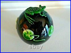 Signed CORREIA Studio Art Glass Paperweight 1986 Black Green FROG TADPOLE
