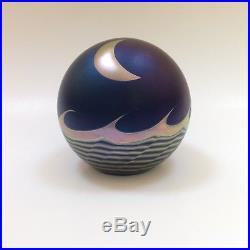 Signed Correia art glass paperweight deep iridescent blue with metallic moon