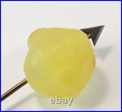 Signed Daum Yellow Pate de Verre Glass Pear Arrow Paperweight Figurine