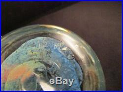 Signed Glass Art Paperweight JS