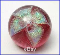Signed Glass Eye Studio Dichroic Flower Paperweight American Art Ges 97 Retired