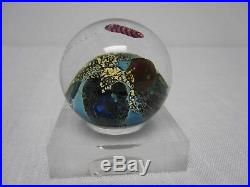 Signed Josh Simpson 1 7/8 Inhabited Planet Sphere Art Glass Paperweight