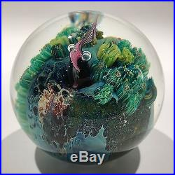 Signed Josh Simpson Art Glass Paperweight Complex Inhabited Millefiori Planet