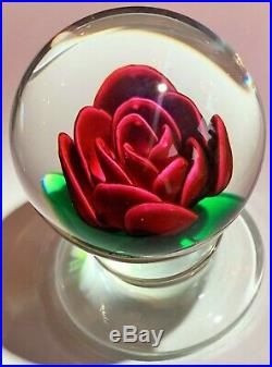 Signed Large Charles KAZIUN Footed Shaded Red Rose