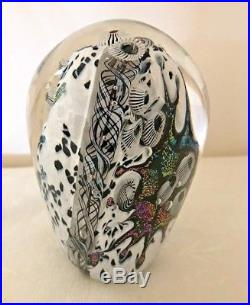 Signed Lindsay Art Glass Lava and Snow Adventures Dome Blown Glass Paperweight