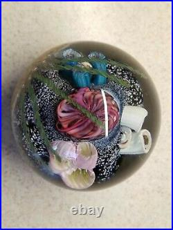 Signed M. E. 91 MARK ECKSTRAND ART GLASS PAPERWEIGHT Coral Reef Sea Life 3 1/2