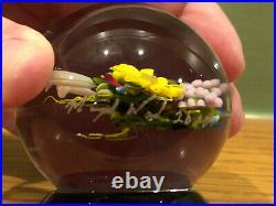 Signed MAYAUEL WARD Flower Floral Bouquet Art Glass Pedestal Paperweight 2010