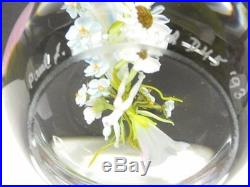 Signed PAUL STANKARD Glass Artist Bee with Flowers Paperweight D45 dated 1993