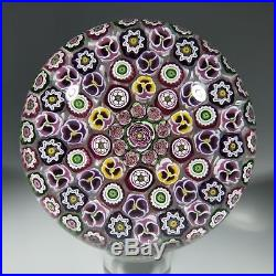 Signed Parabelle Art Glass Paperweight Concentric Millefiori Roses & Pansies