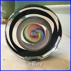 Signed Paul Harrie Rainbow Saturn Series Art Glass Paperweight Sculpture USA