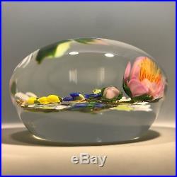 Signed Paul Stankard Art Glass Paperweight Lampwork Braided Flower Bouquet