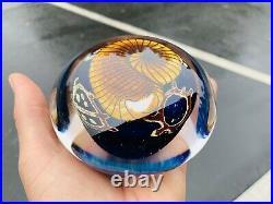 Signed RICHARD SATAVA XL hand blown 4.75 Gold Nautilus on Cobalt Paperweight