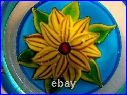 Signed RONALD E HANSEN Faceted Lampwork Flower PAPERWEIGHT