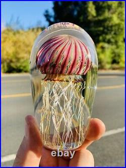 Signed Richard Satava hand blown 4.75 Purple Ribbed Jellyfish Paperweight WOW