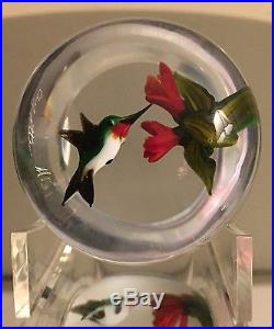 Signed Rick Ayotte Hummingbird & Flowers Small Glass Paperweight