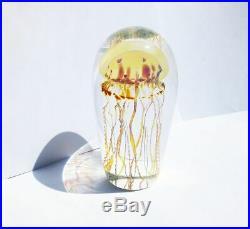 Signed Rick Satava Pacific Coast Jellyfish Art Glass Paperweight Sculpture 5