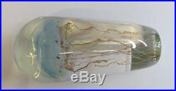 Signed Satava Blown Glass Moon Jellyfish Sculpture Paperweight 7 Blue Hues 7980