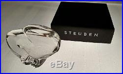Signed Steuben Art Glass Eagle Crystal Paperweight Hand Cooler Lloyd Atkins