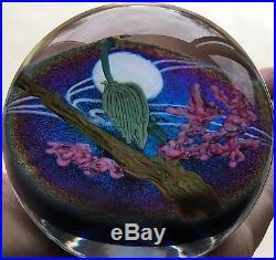 Signed Steven Lundberg Blue Heron Studios Art Glass Paperweight