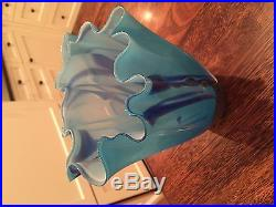 Sky blue with dark blue highlights, Josh Simpson vase. 8 inches tall