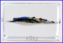 Spectacular JIM D'ONOFRIO Colorful SALAMANDER Art Glass PAPERWEIGHT Block