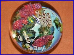 Spectacular Signed Josh Simpson 3 Inhabited Planet Art Glass Paperweight 1995