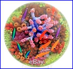 Splendid CATHY RICHARDSON Colorful FISH Coral AQUARIUM Art Glass PAPERWEIGHT AP