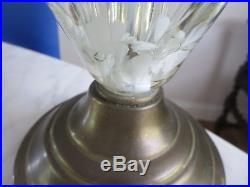 St Clair Art Glass Lamp 2 Paperweight Bulb White Trumpet Flowers