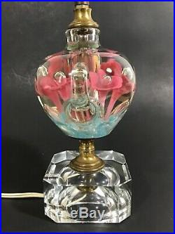 St. Clair Art Glass Pink Flowers Paperweight Table Lamp