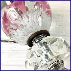 St. Clair paperweight boudoir lamp pair art glass trumpet flower lamp