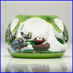 St Louis French Studio Art Glass Ltd Ed Lampwork Bird & Nest Faceted Paperweight