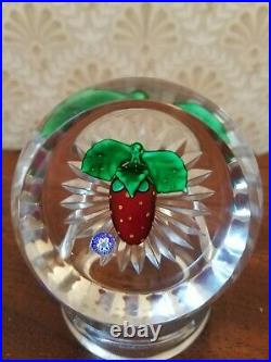 St Louis Glass Paperweight 1992 Strawberry Signed & Dated France
