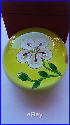 St. Louis Glass Paperweight, HUGE. Clichy Style Flower on a Chartreuse Ground. 1973