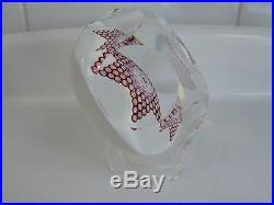 St. Saint Louis Faceted Paperweight Millefiori Star White Background EC 1971